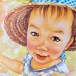 チョークアートで描きました♪♪可愛い麦わらぼうしの似合う女の子ちゃん♪♪